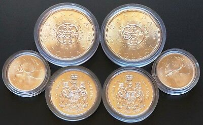 Lot of 6x 1964 BU Canada Silver Coins - Silver Dollars, 50 Cents , 25 Cents, MS+