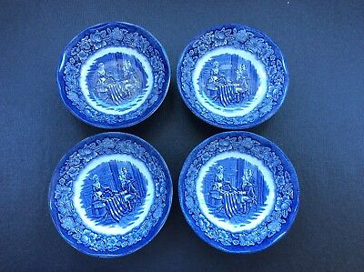 Liberty Blue BETSY ROSS Staffordshire Historic Scenes FRUIT DESSERT BOWLS Set 4