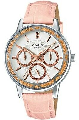 dd290bad0a4 Casio White Dial Day   Date Pink Leather Strap Ladies Watch Ltp-2087L-4Av