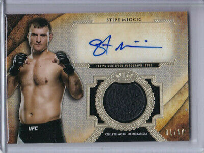 2018 STIPE MIOCIC TOPPS UFC KNOCKOUT TIER ONE FIGHT GLOVE RELIC AUTO #d 01/10 *