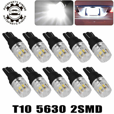 10x White T10 2SMD LED High Power Dome Map License Light Bulbs W5W 168 194 2825
