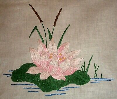Table Runner White Linen Hand Embroidered Pink Water Lilies