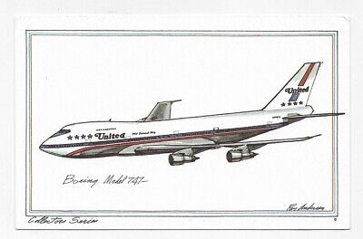 BOEING MODEL 747 AIRPLANE Art By ROY ANDERSEN Unposted Post Card #1738