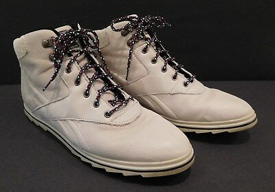 Womens BOKS by Reebok Ivory Leather High-Top Ankle Sneaker Boots Sz 10 Cream cb85a2a48
