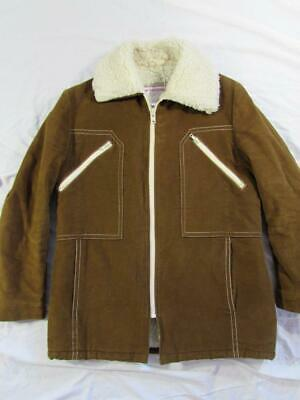 Vtg 70s Mens McGregor USA Made Sherpa Lined Brushed Cotton Jacket Coat Sz 44