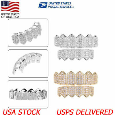 US 18K Gold/Silver Plated Top Bottom GRILLZ Mouth Teeth Grills Set Bling Diamond