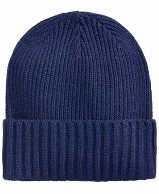 Club Room NEW Navy Blue Men's One Size Solid Cuffed Ribbed Knit Beanie $32 #354