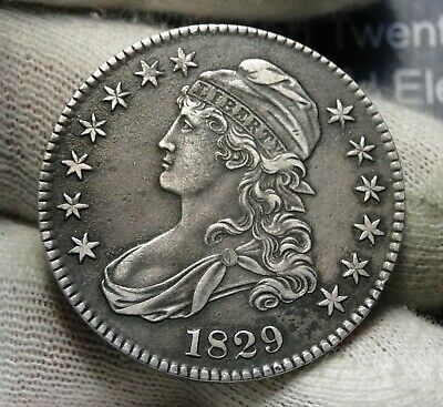 1829 Capped Bust Half Dollar - 50 Cents, Nice Coin, Free Shipping  (7927)