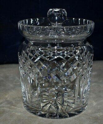 Magnificent Lg. Waterford Cut Crystal Biscuit Barrel Cookie Jar W/cover -Lismore