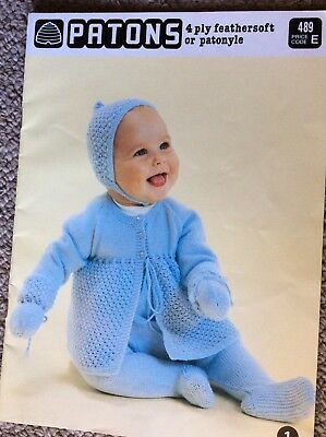 Vintage Patons Baby Knitting Pattern Book 489 4 Ply Feathersoft or Patonyle