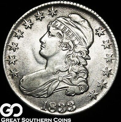1833 Capped Bust Half Dollar, Very Nice Silver Half ** Free Shipping!