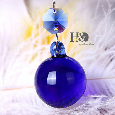 Blue Hanging Crystal Round Ball Prism Chandelier Lighting Drops Pendants 30mm