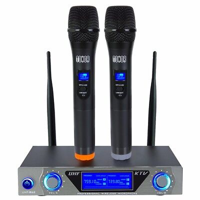 Pro 2 Channel VHF Wireless Dual Handheld Microphone Mic System Kits Party KTV