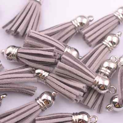 10pcs light gray Silver-Tone-Metal-Top-Tassels-Terylene-Velvet-Pendant-for-jewer