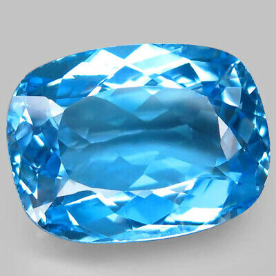 37.06ct.Top Sky Blue Topaz 100%Natural (Brazil) Antique Facet 22x17mm.AAA Nr!.