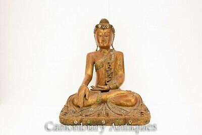 Carved Nepalese Buddha Statue - Seated Meditation Pose Buddhism Sculpture