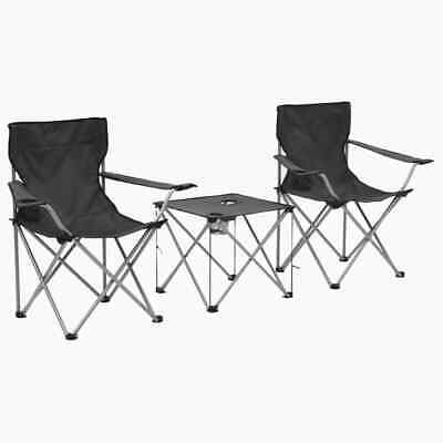 vidaXL Camping Table and Chair Set 3 Piece Grey Portable Picnic Furniture