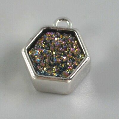 9mm Natural Agate Titanium Druzy Bezel Charm One Bail Silver Plated H131339