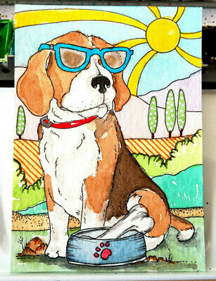 ACEO #131 original art BEAGLE animal collection by FD