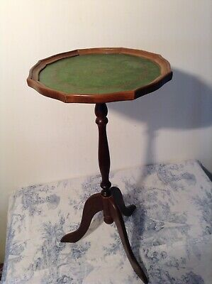 French Wooden Pedestal Wine Table - Green Top, Occasional Side Table  (3258)