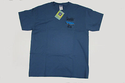 Blue T-Shirt w/ Embroidered Bright Blue Convertible C2 Corvette Sting Ray Large