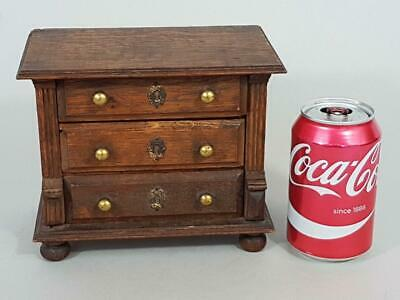 FINE ANTIQUE MINIATURE APPRENTICE PIECE OAK CHEST OF DRAWERS 1900 dolls house