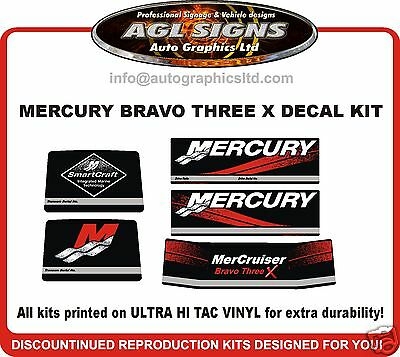 Mercruiser Bravo Three X  Outdrive Reproduction Decal Kit   mercury 3x