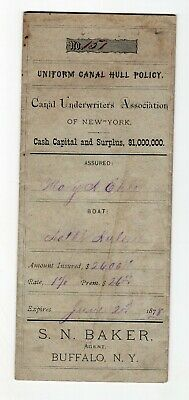 1877 Insurance Policy on New York Canal Boat