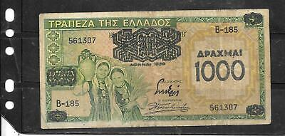 GREECE #111a 1939 1000 DRACHMAI OVERPRINT VG  CIRC OLD BANKNOTE PAPER MONEY NOTE
