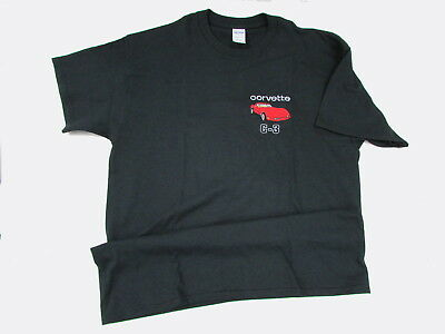 L Black T - Shirt 1980 1981 1982 Corvette Embroidered Red Coupe w /Tan Interior