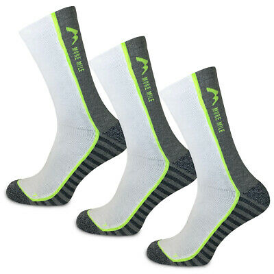 More Mile Strive Mens Womens Running Socks White Cushioned Padded Mid Calf Sock