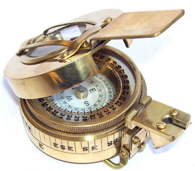 New Antique Military Engineering Brass Compass Prismatic Vintage Nautical Style