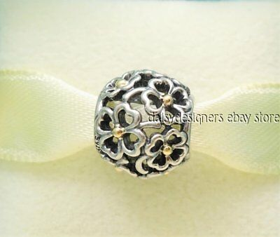 NEW Authentic Pandora Silver 14k Gold EVENING FLORAL Charm 791373 RETIRED