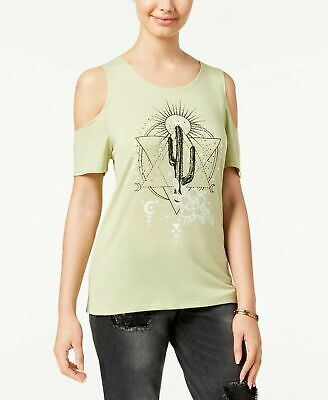 0698df3e6e734 Pretty Rebellious Women s Light Green Cold-Shoulder Graphic T-Shirt Size M