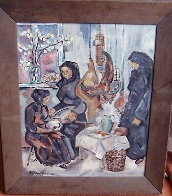 Extra large Russian painting on canvas in heavy oak original frame SIZE:75x64cm