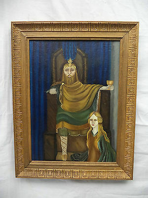 Acrylic Painting Framed Medieval King on Throne With Queen At Feet In Submission