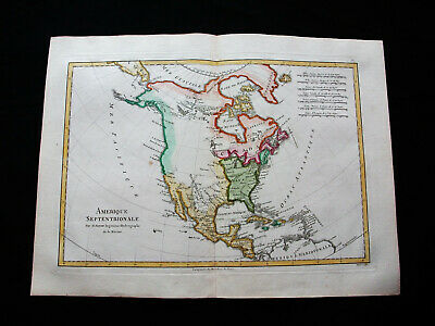"1787 BONNE ""amazing map"" NORTH AMERICA, UNITED STATES, MEXICO, CANADA, CARIBBEAN"