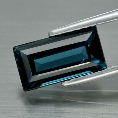VS 2.09ct 10x5.3mm Baguette Natural London Blue Topaz, Brazil