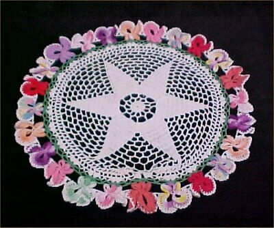 """Vintage Antique Hand Crocheted Lace Doily Tablecloth Pansies 12"""" 1940s Find"""