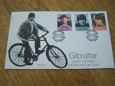 John Lennon [The Beatles] Official First Day Cover Stamps.Gibraltar. 20/3/1999
