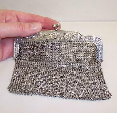 Antique CHAIN MAIL Linked PURSE Evening Bag HALLMARKED Possibly SOLID SILVER