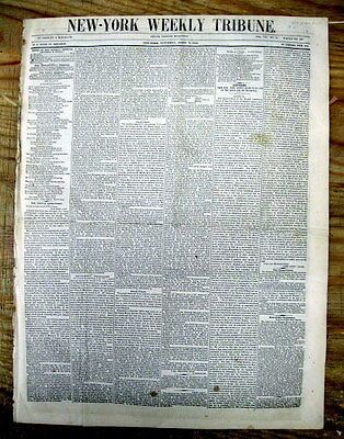 1848 newspaper DEATH Obituary & Will of JOHN JACOB ASTOR -RICHEST MAN in AMERICA