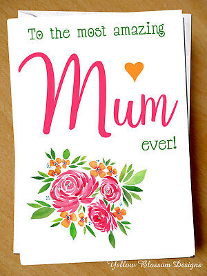 Amazing Mum Card Birthday Mothers Day Christmas Love Son Daughter Cute Flowers