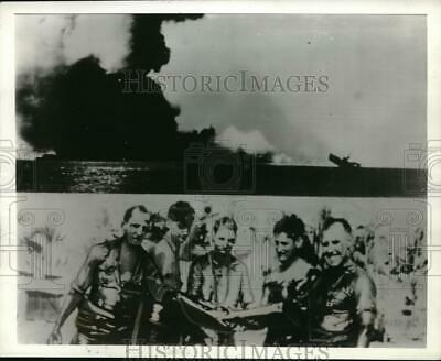 1942 Press Photo Smoke of Cloud attack by Japanese at Solomon Islands.