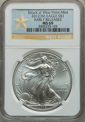 2012 Silver Eagle, No Spots or Toning, NGC MS 69