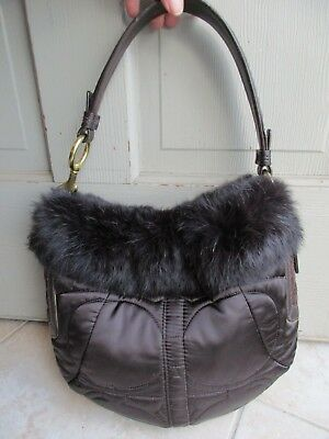 c919f9d1c2 COACH brown quilted soho ski hobo rabbit fur limited edition purse G05K 3586