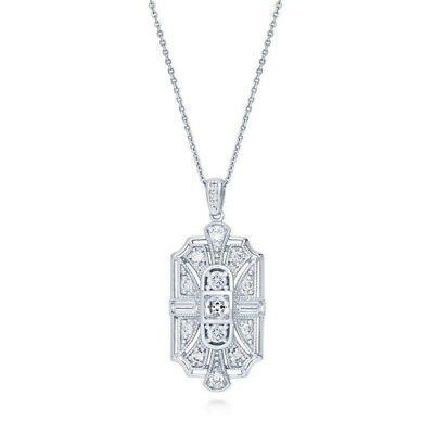 Vintage styles 925 Silver Plated Cubic Zirconia CZ Art Deco Pendant Necklace