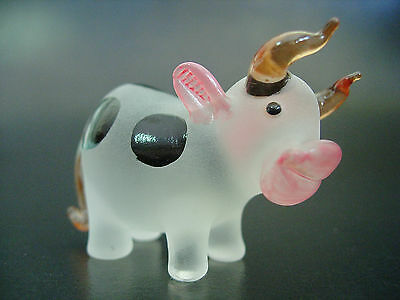 Glass COW OX BULL Black Spotted Painted Frosted Glass Ornament Glass Animal Gift