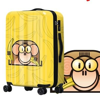 A692 Lock Universal Wheel Yellow Monkey Travel Suitcase Luggage 20 Inches W