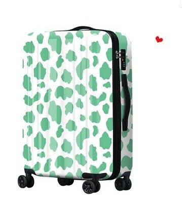 A644 Lock Universal Wheel Green Cow Grain Travel Suitcase Luggage 20 Inches W